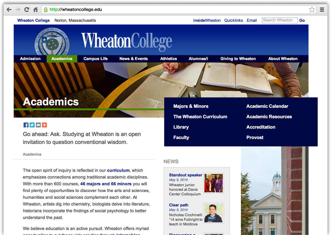 Wheaton College WordPress Website Support