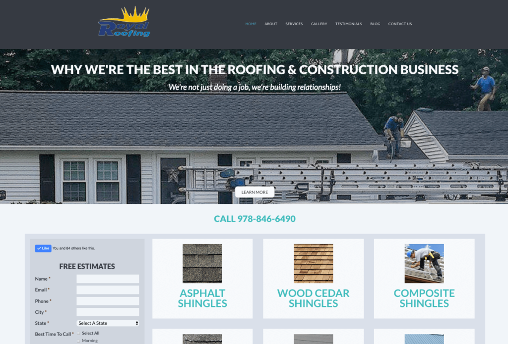 Royal Roofing Homepage