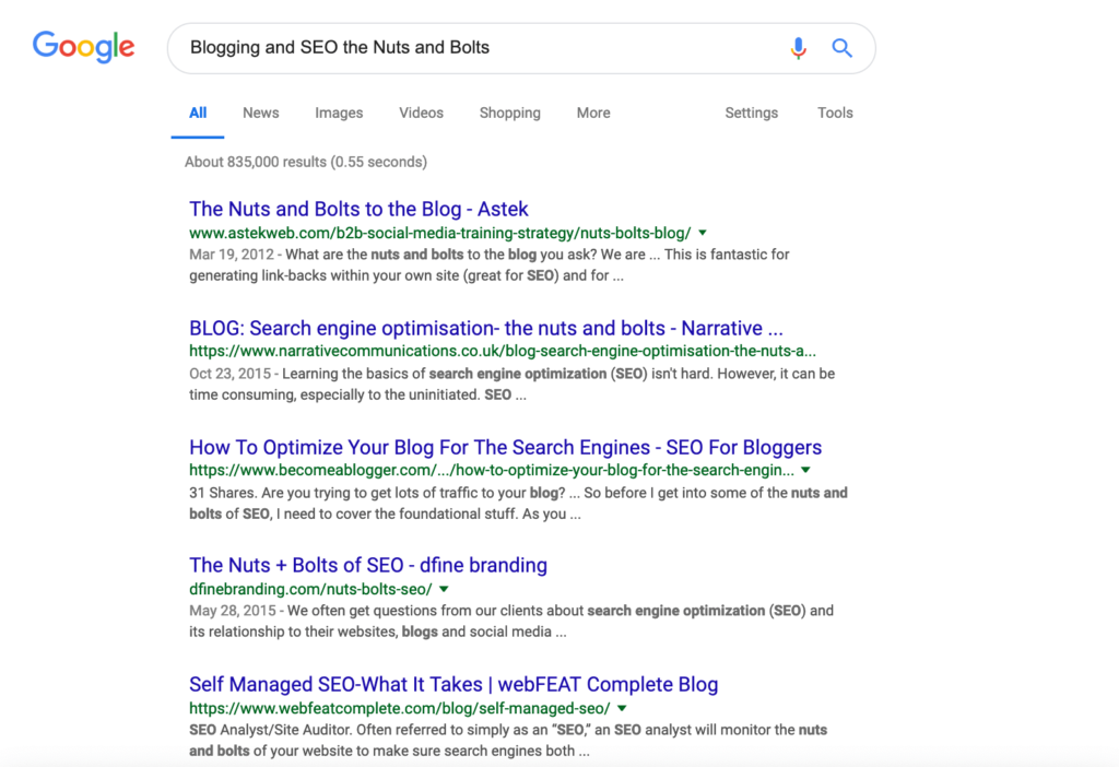 Blogging and SEO the Nuts and Bolts