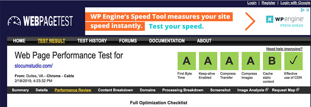 Speed page testing